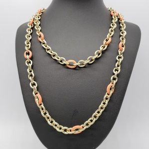 J. Crew Gold Tone Link Chain Enameled Necklace